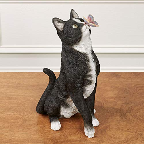 Touch of Class Intrigued Cat Sculpture Butterfly On Nose Black 15.5 Inches Tall
