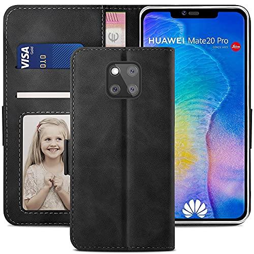 YATWIN Handyhülle Huawei Mate 20 Pro Hülle, Klapphülle Huawei Mate 20 Pro Premium Leder Brieftasche Schutzhülle [Kartenfach][Magnet][Stand] Handytasche für Huawei Mate 20 Pro Hülle, Schwarz