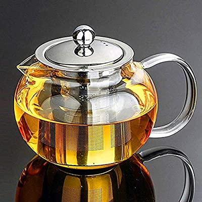 Warmyee Hofu Small Clear High Borosilicate Glass Tea Pot with Removable 304 Stainless Steel Infuser, Heat Resistant Loose Leaf Teapot,Stovetop Safe, 660 ml/22.3 Ounce.