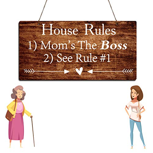 Zhuper Mom Gifts for Mothers Day House Rules Mom's The Boss Wood Funny Sign Birthday Gift for Mom in Law Grandma
