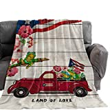 Throw Blankets Retro Truck with Frog and Flower Fuzzy Soft Bed Cover Bedspread Microfiber Luxury...