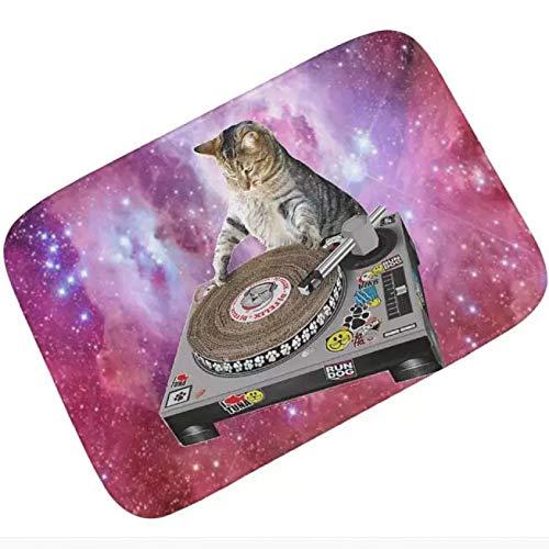 Badematte Fußabtreter Galaxy DJ Katze Thunfisch Kratzer Plattenspieler DJ Katzen...