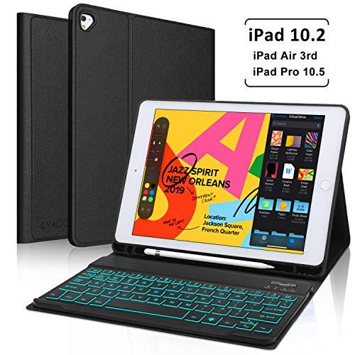 iPad 10.2 inch 7th Generation 2019/ iPad Air 3rd gen 2019/ iPad Pro 10.5 inch Keyboard Case, Auto Sleep Wake Case with Pencil Holder- Magnetically Detachable Wireless Backlit Keyboard (Black)