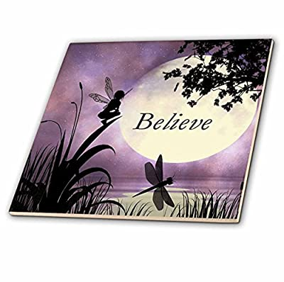 3dRose ct_35696_8 Believe, Fairy with Dragonflies with Moon and Purple Sky-Glass Tile, 12-Inch