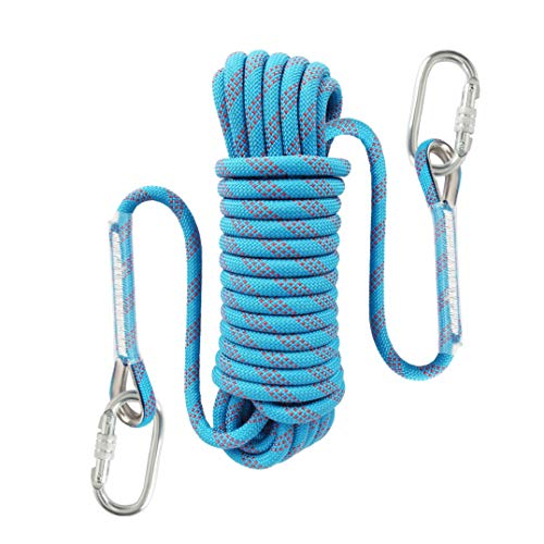 Liberry Outdoor Static Rock Climbing Rope,10_mm Diameter, Fire Escape Safety Rappelling Rope Outdoor Rescue Rope with Hooks: 32_ft, 64_ft, 96_ft Optional (blue1, 32 ft)