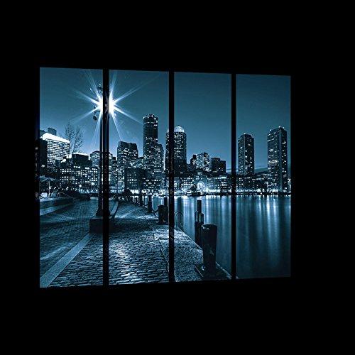 WANDBEELDING SET CANVASBEELD SET muurschildering set canvas kunstdruk canvas set   stad en wolken krassen 's nachts     Canvas Picture Print Set 20073_PS7-MS   stad New York wolkenkrabber raam gebouwen S7 (120cm. x 80cm. (4x30x80)) blauw, zwart.