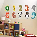 Txyang 1 À 10 Lettres Chiffres Sticker Mural Drôle Bricolage Dessin Animé Animaux Décoration Pour Bébé Enfants Chambre Stickers Muraux