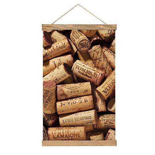 GHRSGBHST Lienzo colgante para pared, para comedor, porche, cocina, dormitorio, decoración del hogar, póster de madera, listo para colgar, 33 x 50 cm, corcho de vino de madera