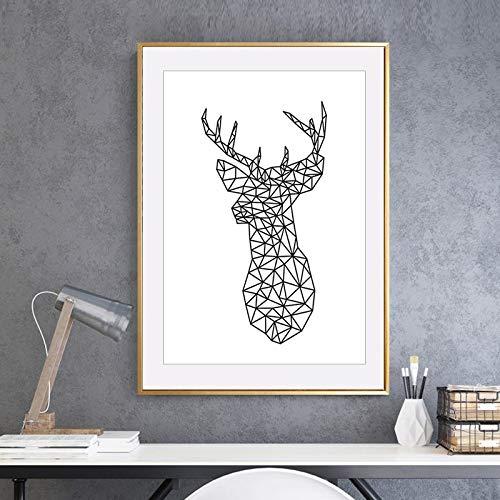 Minimalista cabeza de ciervo triángulo geométrico origami lienzo pintura nórdico animal cartel pared arte imagen para habitación de niños hogar sin marco lienzo decorativo pintura A66 40x60cm