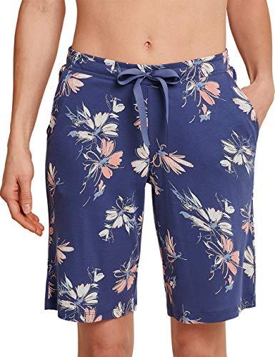 Schiesser Damen Mix & Relax Jerseybermuda' Schlafanzughose, blau, 40 (Herstellergröße:040)
