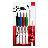 Sharpie Marcadores permanentes retráctiles   Punta fina   Varios colores estándar   4 unidades