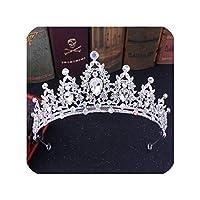 花嫁ヘッドバンドウェディングヘアアクセサリー、シルバーアブ色のバロック様式の豪華な手作りのラインストーンブライダルティアラクラウンクリスタルシルバーダイアデムティアラ