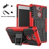 LiuShan Sony XA2 Funda, Heavy Duty Silicona Híbrida Rugged Armor Soporte Cáscara de Cubierta Protectora de Doble Capa Caso para Sony Xperia XA2 Smartphone(con 4 en 1 Regalo empaquetado),Rojo