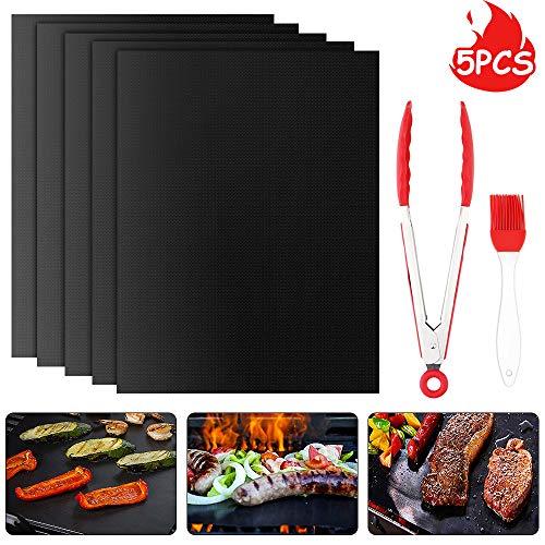 Mitening BBQ Grillmatten, 40x33 cm 5er Set BBQ Antihaft Grill-und Backmatte Wiederverwendbar PFOA-Frei - Toll über Kohle, Backofen, Gas und Weber Style Grills - Perfekt für Fleisch, Fisch