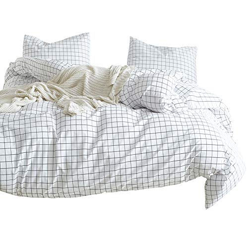 Luofanfei Black and White Grid Double Duvet Cover with Two Matching Pillowcases, 3 PCS Checkered Gingham Bedding Set Double Bed Set for Couples