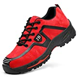 Zapatos de Seguridad Hombre Punta de Acero Protección Zapatillas de Trabajo Ligeras Respirable Zapatos de Deporte Senderismo para Industria Verano al Aire Libre Rojo 40