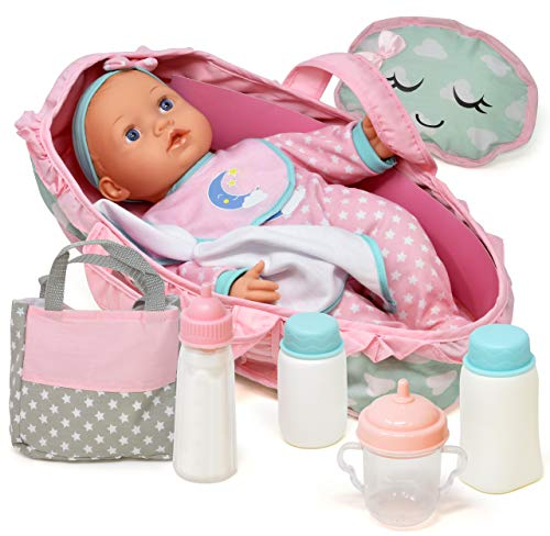 Baby Doll Feeding Set, 16 Inch Soft Body Baby Doll with Carrier Bassinet Bed, Includes Diaper Bag, Realistic Bottle, Bib and Pillow