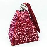 SILHKDBNB Bolso de Boda Nupcial de Diamantes Vintage Mini Bolsos de Fiesta de pirámide Gris Bolsos de Mujer Pulseras Embragues Bolsos de Embrague de Noche de Cristal Bolso Rojo sólido