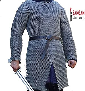 Sangamsteelcraft Medieval Hauberk Chainmail Full Sleeve Shirt Mild Steel 10 mm Butted Ring