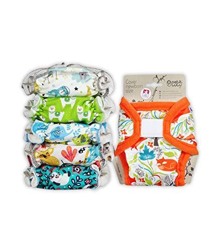 Petit Lulu 5 Stück Neugeborene Höschenwindel Set Fluffy Organic + 1 Wasserdichte Größe 1 PUL Überhose (2-6 kg) | Stoffwindelpackung | Hergestellt in der EU (B)