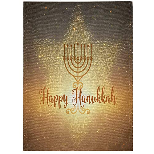 Vnurnrn Happy Hanukkah Star House Flag 28' x 40' Double Sided Burlap Garden Yard Banner Decorative Outdoor Large Flag