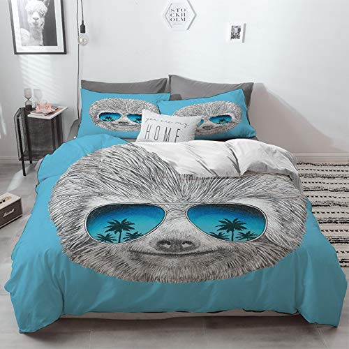 3 Piece Duvet Cover Set No Wrinkle Ultra Soft Bedding Set,Sloth,Portrait of Sloth with Mirror Sunglasses Exotic Palm Trees Hawaiian Beach Hipster,2 pillowcase 50 x 75cm 1 Pc Bed sheet 260 x 220cm
