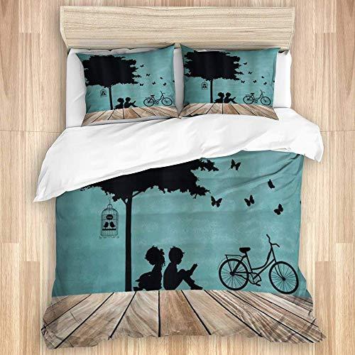 Funda nórdica, Nature Niño y niña Niños Leyendo Debajo de un árbol con una Bicicleta con Jaula de pájaros, Juego de Cama de Calidad con 1 Funda y 2 Fundas de Almohada Estilo