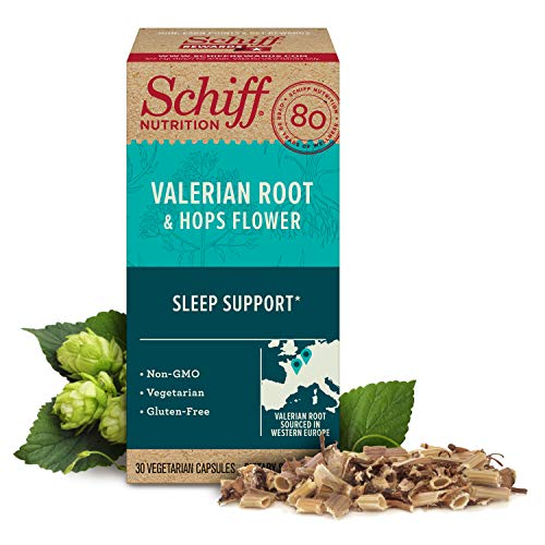 Valerian Root Extract & Hops Flower Vegetarian Capsules, Schiff (30 Count in a Bottle), Gluten-Free & Non-GMO Supplement, Helps Support Sleep٭, GABA, Brain Neurotransmitter, Herbs