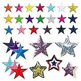 Woohome 31 Pz Estrella Parches Ropa Termoadhesivos, Parches Bordados Patch Sticker para Ropa, Mochila, Gorras, Repara El Palo de Agujero