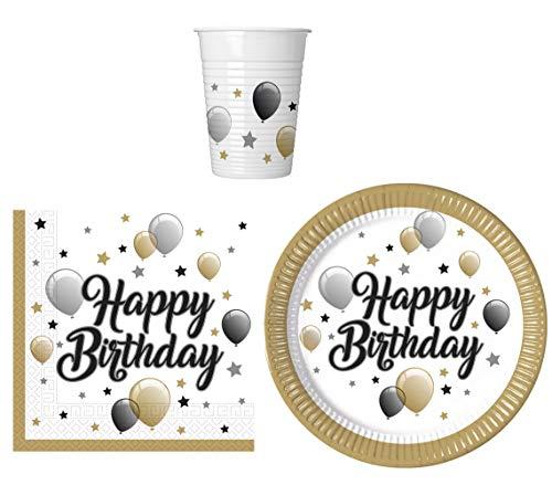 Juego de vajilla para fiesta de cumpleaños Happy Birthday – platos, vasos...