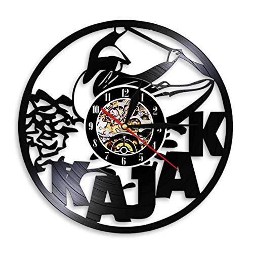 XYLLYT Arte de Pared Deportes acuáticos Explore Kayak Reloj de Pared Kajak Paddler Kayaking Reloj de Pared con Registro de Vinilo Vintage Kayakers Regalo