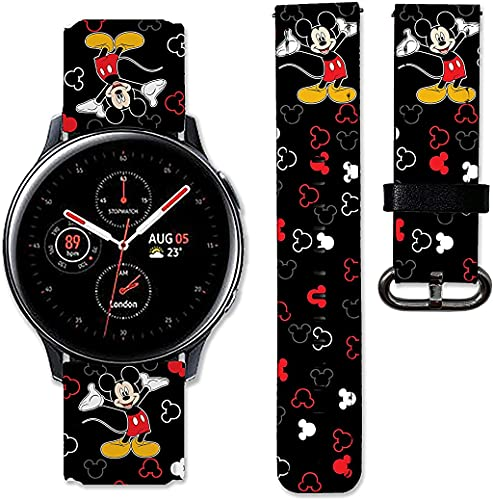 BGBA Cartoon Mouse band compatible with Samsung Galaxy Watch 3 Active 2 40mm 41mm 42mm 45mm 46mm Gear S3 S2 and other watches 20and 22mm wristband straps leather bands 01 (20mm) Multicolor