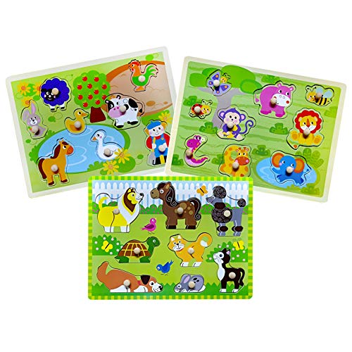 Toddler Puzzles Wooden Peg Puzzle for Kids 3 4 5 Years Old Matching Game Learning Educational Toys 3 Sets - Farm  Pets and Jungle Animal Illustrations for Toddlers Preschool