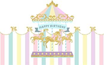 AOFOTO 7x5ft Polyester Baby Girl Happy Birthday Backdrop Pink Striped Tent Merry-go-Round Golden Horses Carousel Background for Kid Bday Party Decoration Birthday Photo Studio Props No Wrinkle