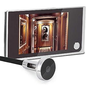 Tangxi Mirilla Digital, Cámara Mirilla,Visor de Mirilla de la Puerta Pantalla LCD 3.5 Pulgadas+ Ángulo de Visión 120°+24 Horas de Seguimiento,Mirilla electrónica Ojo de Gatopara Seguridad de Casa