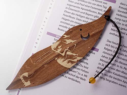 Lesezeichen aus Holz, Fuchs und Berge, MinaturArt