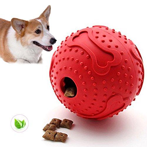 ThinkPet Hundespielzeug zum Kauen, IQ-Ball-Intelligenz-Spielzeug für die Zahnreinigung Rot, Klein, EINWEG Verpackung