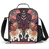 Delerain Bolsa de almuerzo para niños, con diseño de elefantes, con aislamiento térmico, bolsa de almuerzo con correa para el hombro, para niñas, niños, escuela, picnic