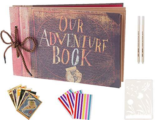 Boic Our Adventure Book, DIY Handgemachtes Fotoalbum Scrapbook Album, Gästebuch für Jubiläumfür Reise Valentinstag Hochzeit Geburtstag Weihnachten Geschenk 80 Seiten mit Foto DIY Zubehör Kit