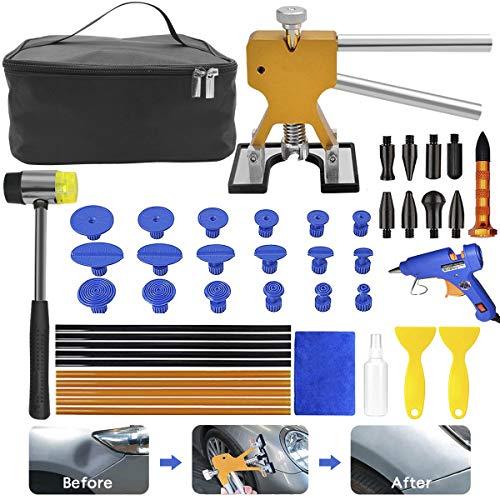 MENQANG, kit di riparazione ammaccatura per auto da 39 pezzi con pistola per colla e martello, estrazione per ammaccature minori e intaccatura profonda