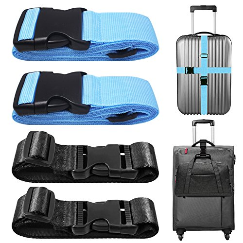 4 Packs Luggage Straps and Add A Luggage Belts, AFUNTA Adjustable Suitcase Belts Travel Bag Attachment Accessories - Blue, Black