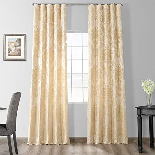 HPD Half Price Drapes Designer Damask Curtains for Room Decorations Faux Silk 50 X 84 (1 Panel), JQCH-20122010-84, Champagne Beige