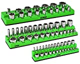 ARES 60037 - 3-Piece Set SAE Magnetic Socket Organizers - GREEN - Includes 1/4 in, 3/8 in, 1/2 in Socket Holders - Holds 68 Standard (Shallow) and Deep Sockets - Also Available in RED