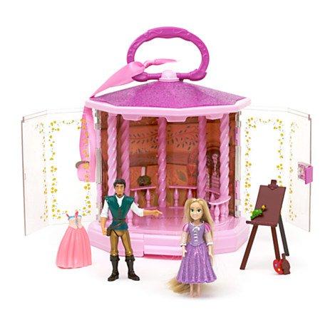 Disney Store Playset Set Da Gioco Rapunzel Con Flynn Rider Principe L'intreccio Della Torre Principessa Figurine Giocattolo Originale Bambole Gazebo 19X20X20cm