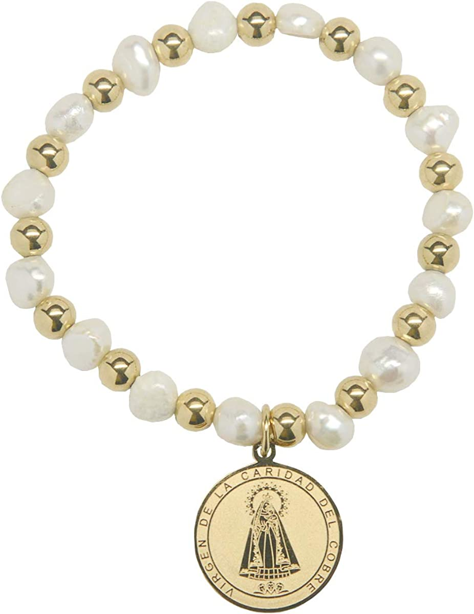 Virgen de la Caridad del Cobre Religious Catholic Bracelet with Stainless Steel Medal and Pearl Beads (SSBCOMPM-WG)