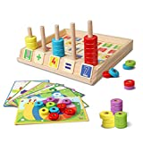 Lydaz Wooden Puzzles Counting Toys, Montessori Preschool Learning Educational Math Toys fo...
