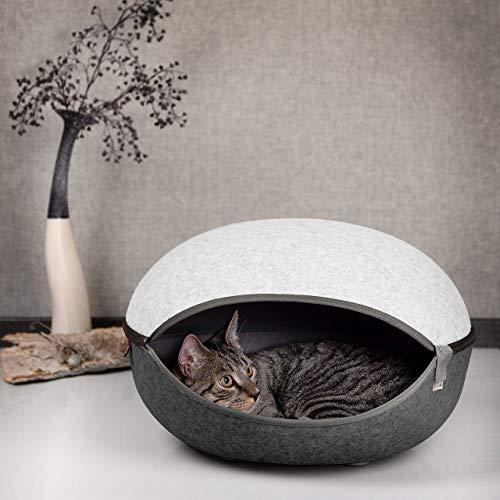 CanadianCat Company ®   Katzenhöhle, Katzenest in Eierschalenweiss - das Katzenbett mit Stil
