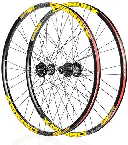Bike Wheel Bicycle Wheel Set 26/27.5 Inch Cycling Axles Mounted Bicycle Wheels, Rim MTB Double Wall Quick Release Disc Brake 32H for 8 9 10 11 Speeds (Size : 27.5inch)