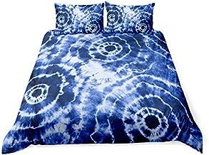 Helehome Blue Tie Dye Bedding Duvet Cover Luxury Tie Dye White Spiral Printed Watercolor Duvet Cover Set Boho Hippie Bedding Sets, Queen Size 1 Duvet Cover 2 Pillowcases