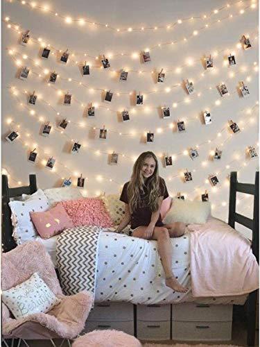 Lichterkette mit klammern für Fotos, LED Lichterkette Batterie für Schlafzimmer Deko, Fotowand, ideale Geschenk für den Kindergeburtstag, warmweiß
